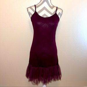 NWT Mystree Bordeaux Tulle Spaghetti Slip Dress M